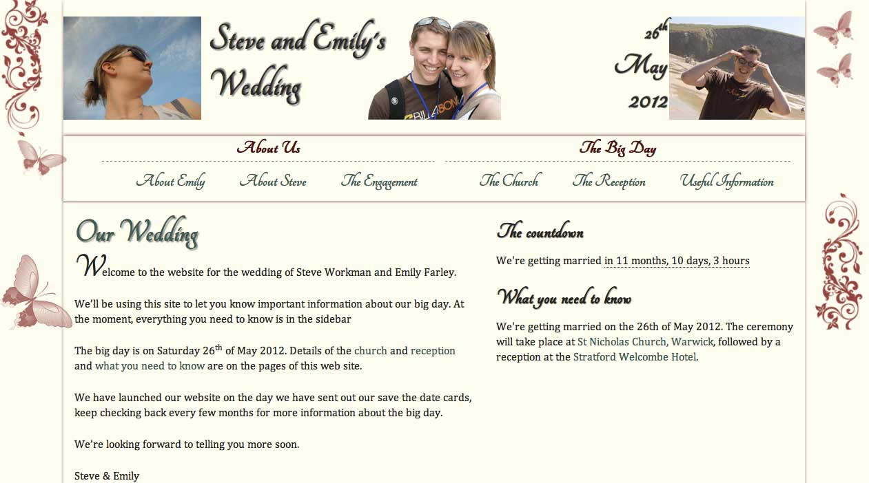 Steve an Emily's Wedding homepage